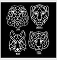 set polygonal head animals polygonal logos vector image vector image