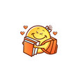 smiley face schoolgirl with backpack hugging books vector image vector image