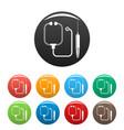 stethoscope syringe icons set color vector image