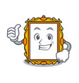 thumbs up picture frame character cartoon vector image