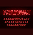 voltage neon light alphabet realistic extra vector image