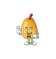 waiter ripe fragrant pear fruit cartoon character vector image vector image