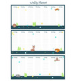 weekly planner template with sleeping vector image