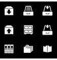 white archive icon set vector image vector image