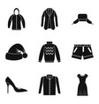 winter clothing icon set simple style vector image
