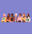 young diverse woman standing together in row vector image vector image