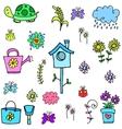 spring set colorful doodles vector image