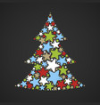 abstract christmas tree made of multicolored stars vector image