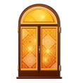 orange door with oriental ornament vector image