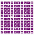 100 landscape element icons set grunge purple vector image vector image