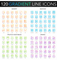 120 trendy gradient thin line concept vector image vector image