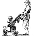 a young mother with her little girl in a baby vector image vector image
