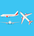 airplane on blue background in different point of vector image vector image