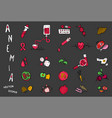 anemia pictograms set vector image