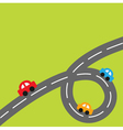 Background with big loop road and cartoon cars vector image