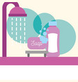 bathtub shower drops soap shampoo foam bathroom vector image