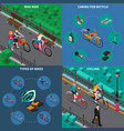 bicycle isometric composition set vector image vector image