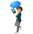 boy and cell phone vector image vector image
