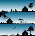 camping in nature people silhouette set vector image vector image