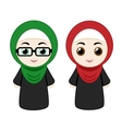 Cartoon girls with hijab vector image vector image