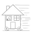 cartoon of man driving and moving family house on vector image