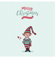 christmas and new year holiday elf cartoon card vector image vector image