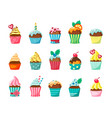 cupcakes with frosting in cartons flat vector image
