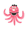cute cartoon pink octopus waitress character vector image vector image