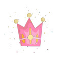 cute pink crown with gems cartoon icon fun vector image
