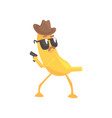 detective banana with gun cartoon funny fruit vector image vector image