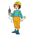 female construction worker vector image vector image