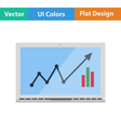 Flat design icon of Laptop with chart vector image vector image