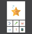 flat icon nature set of alga sea star tuna and vector image vector image