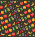 fresh food fruits seamless pattern vector image