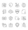 gdpr privacy policy icon set included the icons vector image vector image