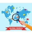 Global search world map hand magnifying glass vector image