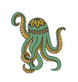 green yellow octopus tangle pattern vector image vector image