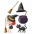 halloween set with witch and other elements vector image