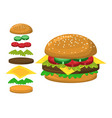 hamburger parts symbol icon design vector image