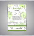 hand drawn farm animals brochure local farm card vector image vector image
