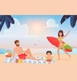 happy family spend fun time on tropical summer vector image vector image