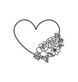 heart border with flower bouquet element vector image vector image