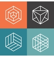 Hexagon logos in outline linear style vector image vector image