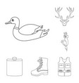 hunting and trophy outline icons in set collection vector image vector image