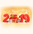 new year background with a 2019 and gift boxes vector image vector image