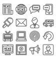 news media icons set on white background line vector image