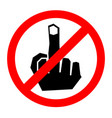 no finger sign icon vector image vector image