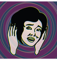 OMG retro scared girl screaming with terror vector image vector image