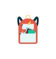 orange backpack with school supplies cartoon vector image