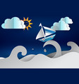 paper cut art of boat sailing in the sea vector image vector image